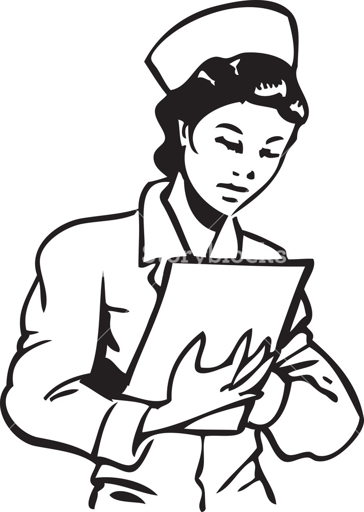 Illustration Of A Nurse With Clipboard. Royalty.
