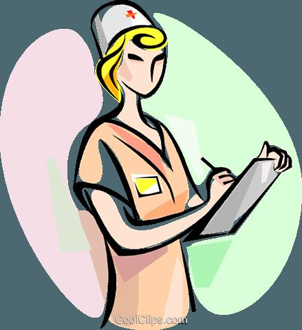 Nurse with clipboard Royalty Free Vector Clip Art.