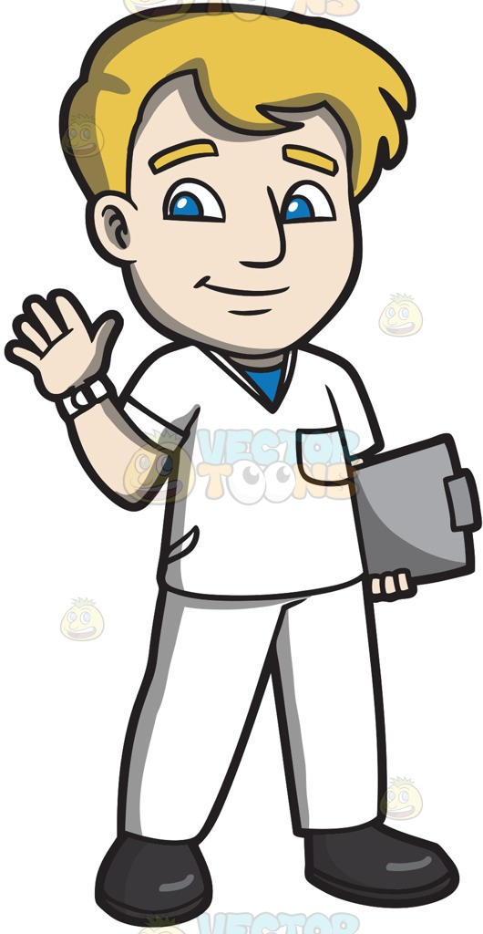 Male Nurse Cartoon Clipart.