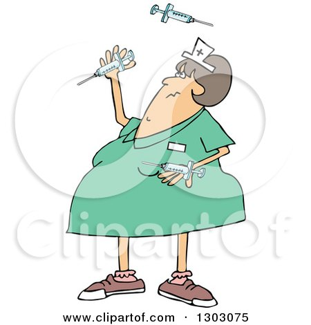 Patient Getting Shot In the Butt by a Nurse with a Syringe Clipart.