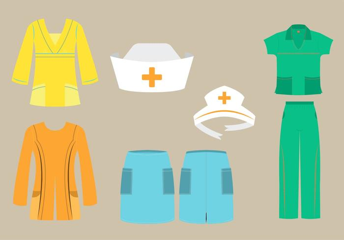 Vector Set of Nurse Scrubs and Caps in Different Fashion.