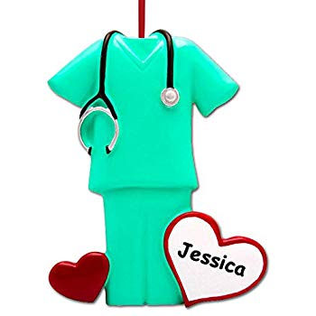 Personalized Nurse Scrubs Christmas Tree Ornament Gift RN Nurse Surgical  Technician PA NP Doctor.