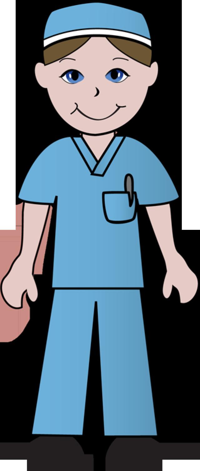 Free Clip Art Of Doctors and Nurses: Nurse in Blue Scrubs.