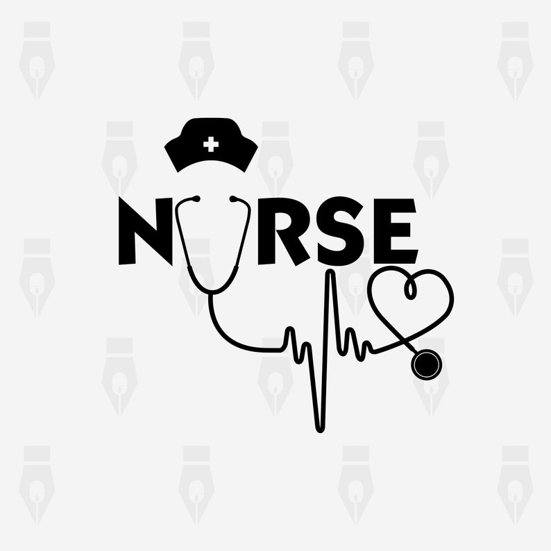 Nurse Stethoscope svg, Nurse Stethoscope digital clipart files for Design,  Printing, Cutting or more. Instant files included svg, png, dxf.