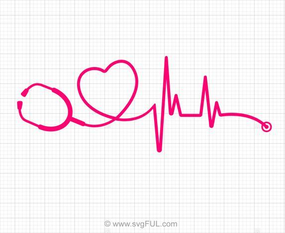 Heartbeat Medical Doctor Nurse SVG Clipart.
