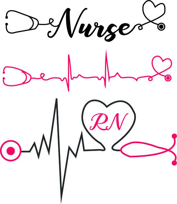 Nurse with heartbeat and stethoscope svg nurse svg heartbeat.