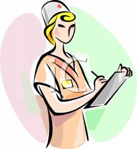 A Nurse Writing on a Clipboard.