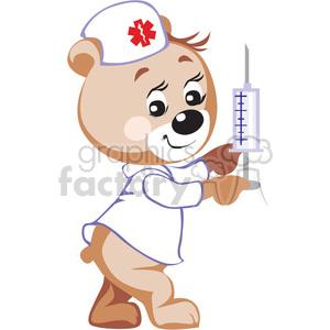 Teddy bear nurse holding a big syringe clipart. Royalty.
