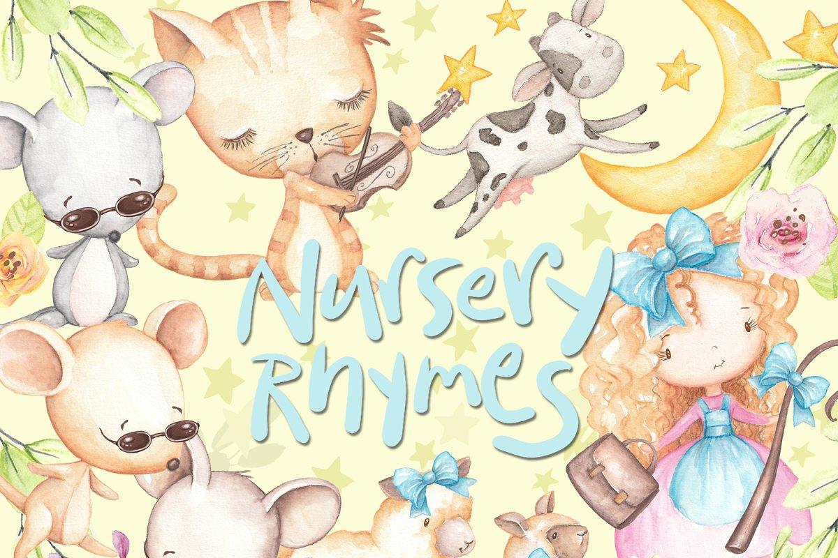 Nursery Rhyme Clipart, Watercolor.