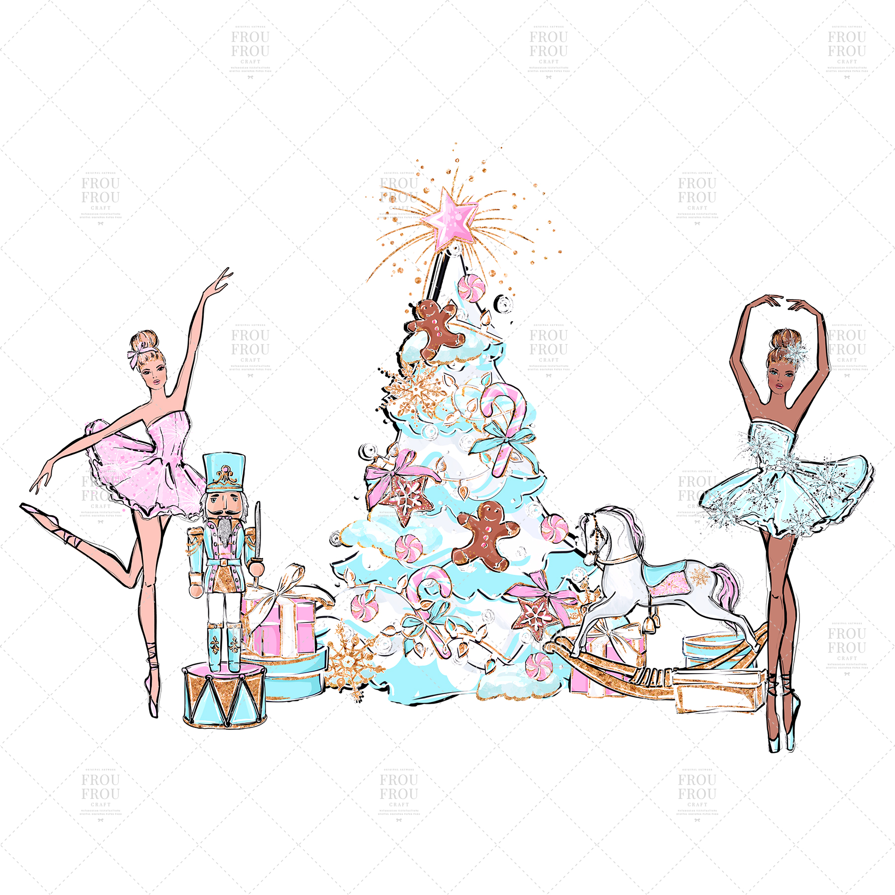 Nutcracker Fairy Tale Nursery Children Ballerina Clip Art.