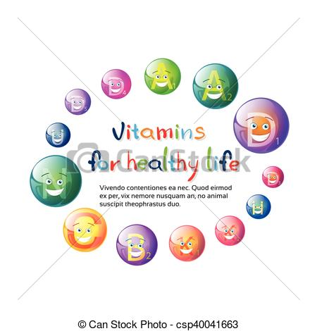 Clip Art Vector of Vitamins Nutrient Minerals Colorful Banner.