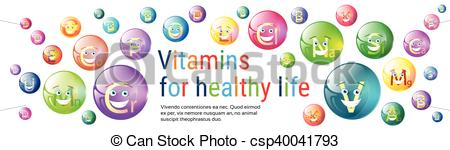 EPS Vectors of Vitamins Nutrient Minerals Colorful Banner Healthy.