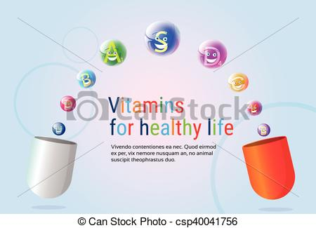 Clipart Vector of Capsule With Vitamins Nutrient Minerals Colorful.