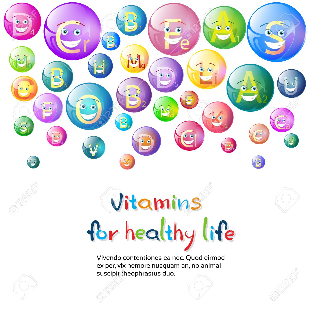 Vitamins Nutrient Minerals Colorful Banner Healthy Life Nutrition.