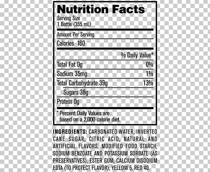 Fizzy Drinks Jones Soda Cola Nutrition Facts Label PNG.