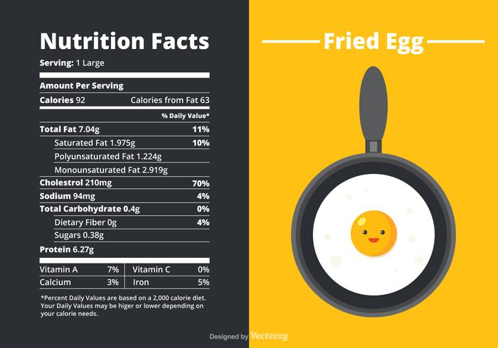 Vector Nutrition Facts Of A Fried Egg.