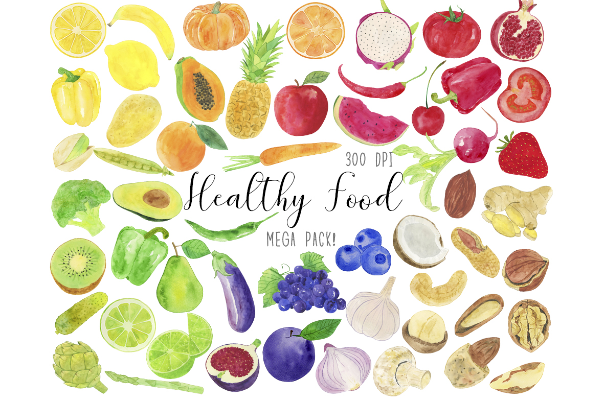 Watercolor Healthy Food Clipart, Vegetables Clipart.