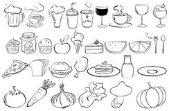 Healthy Unhealthy Food Drinks Stock Illustrations.