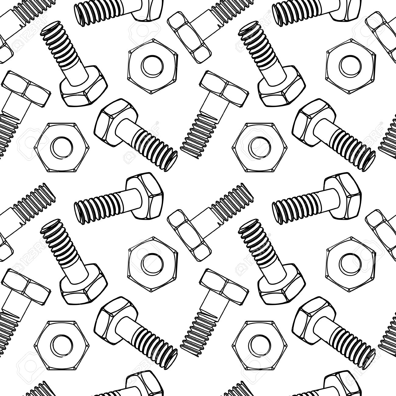 Seamless nuts and bolts. Vector illustration. Different projections.