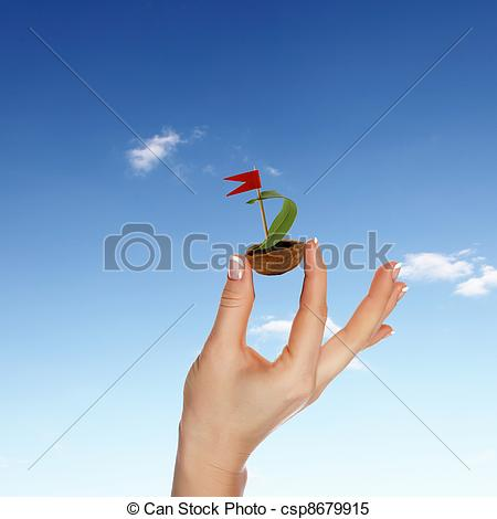 Stock Illustrations of Nutshell ship with green leaf sail and red.