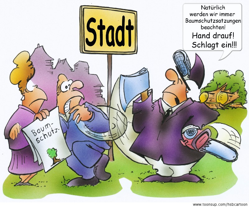 Cartoon Naturschutz.