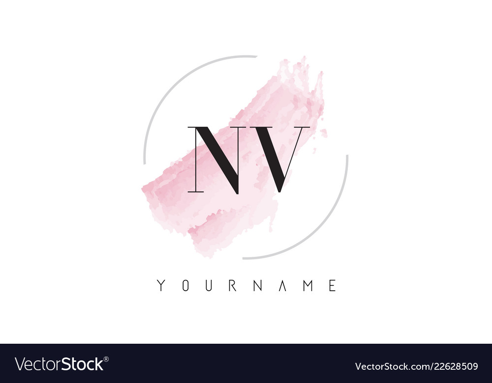 Nv n v watercolor letter logo design with.