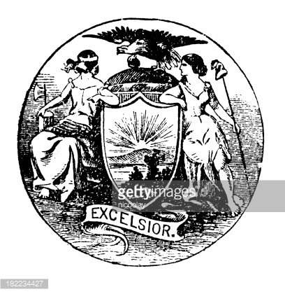 High Resolution Old State Seal of New York Clipart Image.