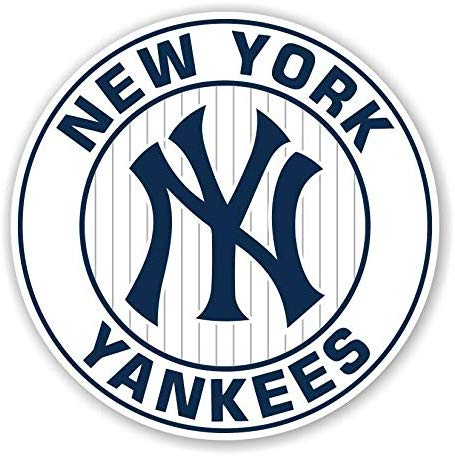 New York Yankees Round White Decal Sticker for Car Bumper Window Laptop  Truck Die Cut NY (10 Sizes) (3\