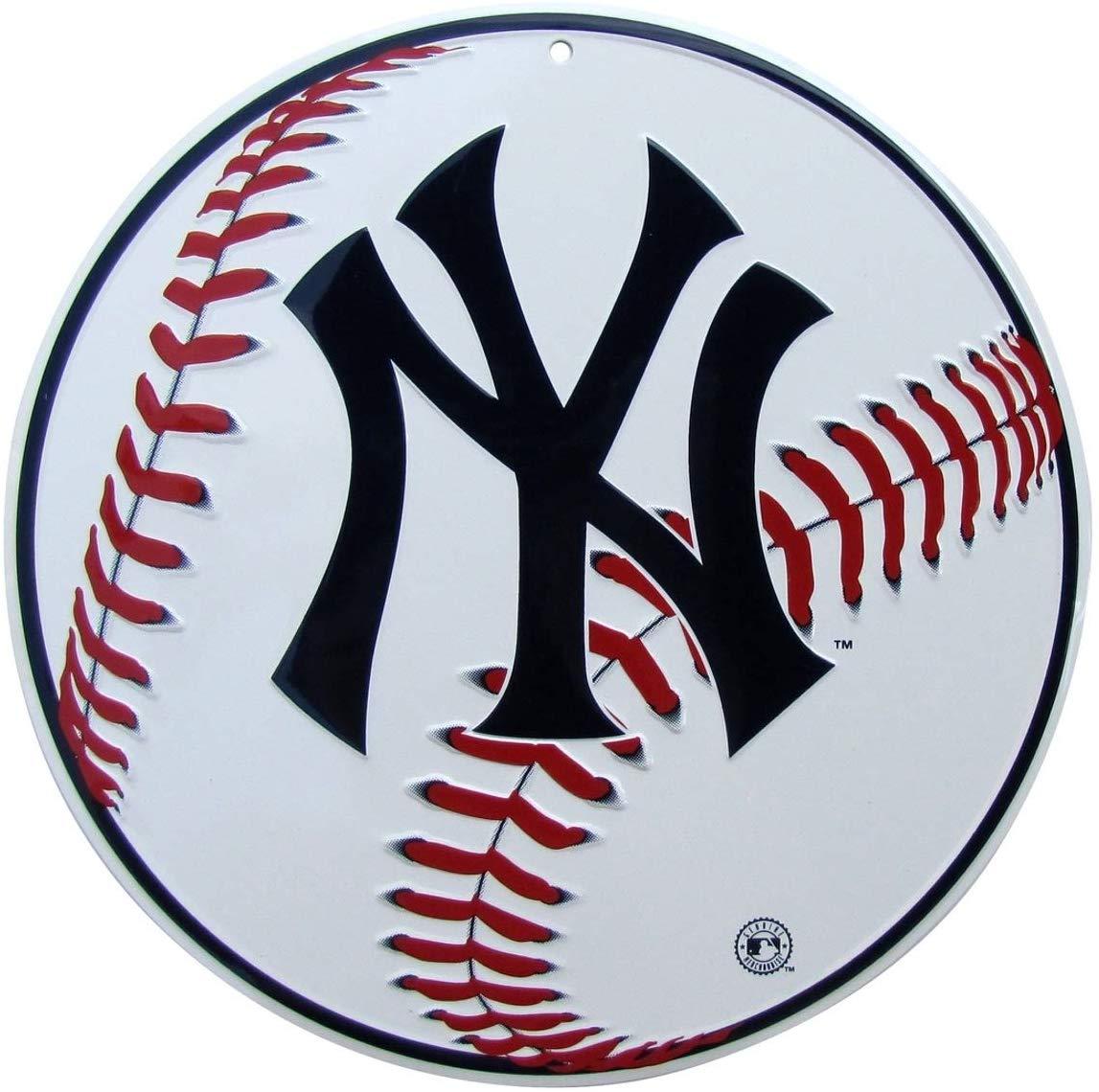 TG LLC NY Yankees Logo Round Baseball Metal Sign Man Cave Game Room Bar Pub  Wall Decor.