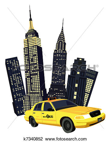 Clipart of New York City Taxi k7340851.