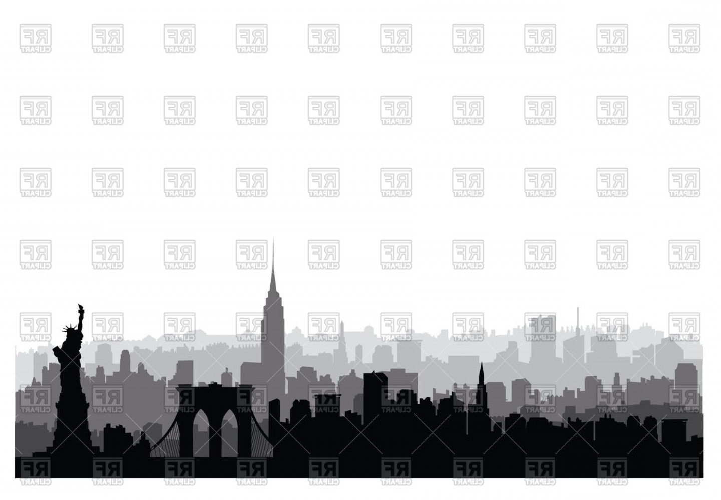 New York Usa Skyline Nyc City Silhouette Vector Clipart.