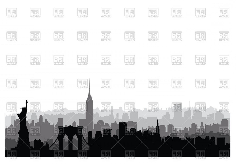 New York Usa Skyline Nyc City Silhouette Vector Clipart.