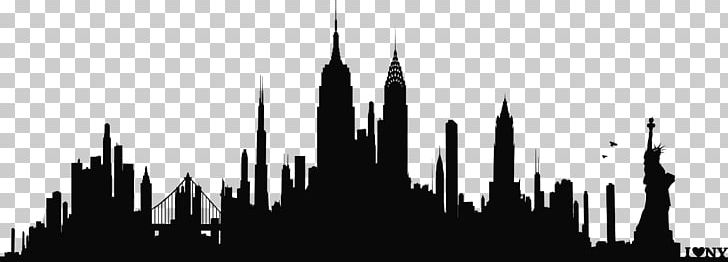 New York City Skyline Silhouette Wall Decal Phonograph.
