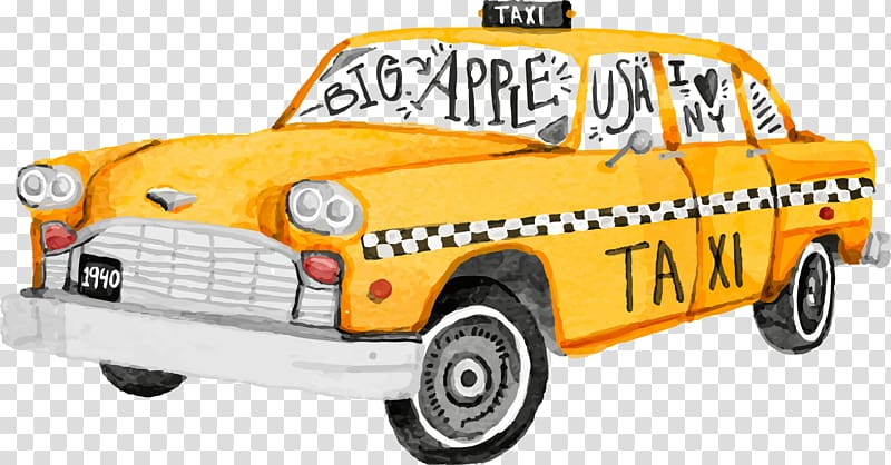 Yellow taxi car illustration, New York City Spider.