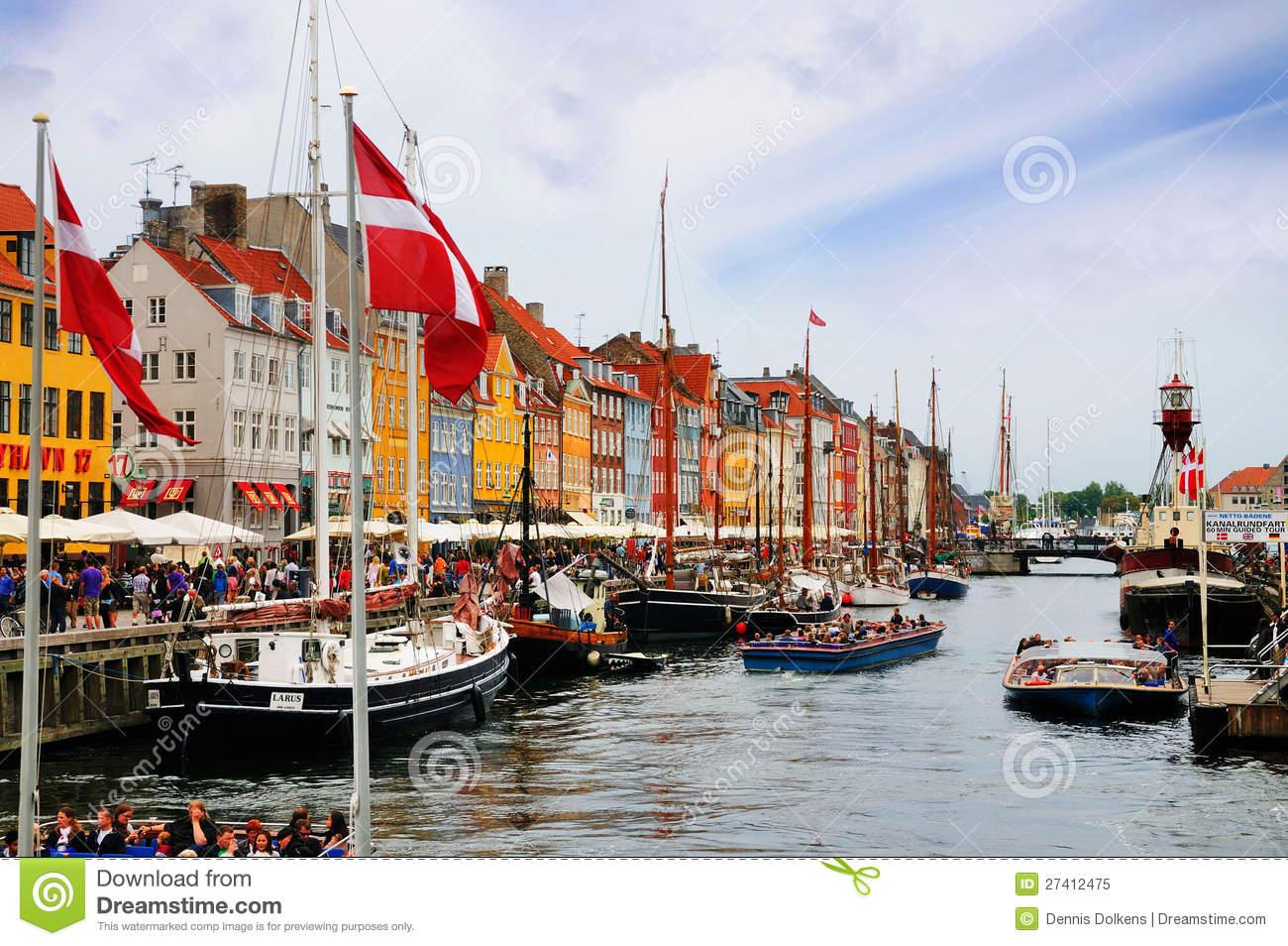 Nyhavn, New Harbor, Copenhagen, Denmark Editorial Image.