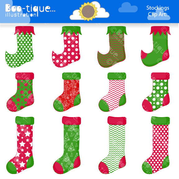 Christmas Stocking Clipart. Christmas Clip Art for Instant.