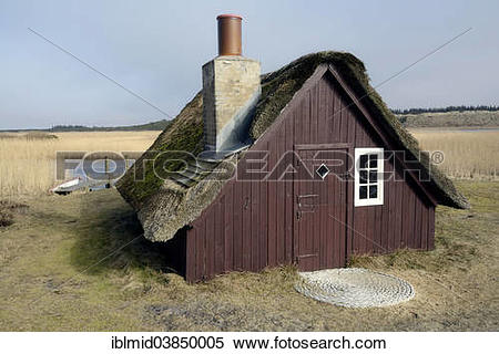 """Stock Image of """"Old fishing hut with a thatched roof, Nymindegab."""