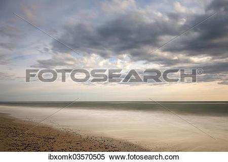 "Stock Image of ""Beach, evening mood on the North Sea, Ringkobing."
