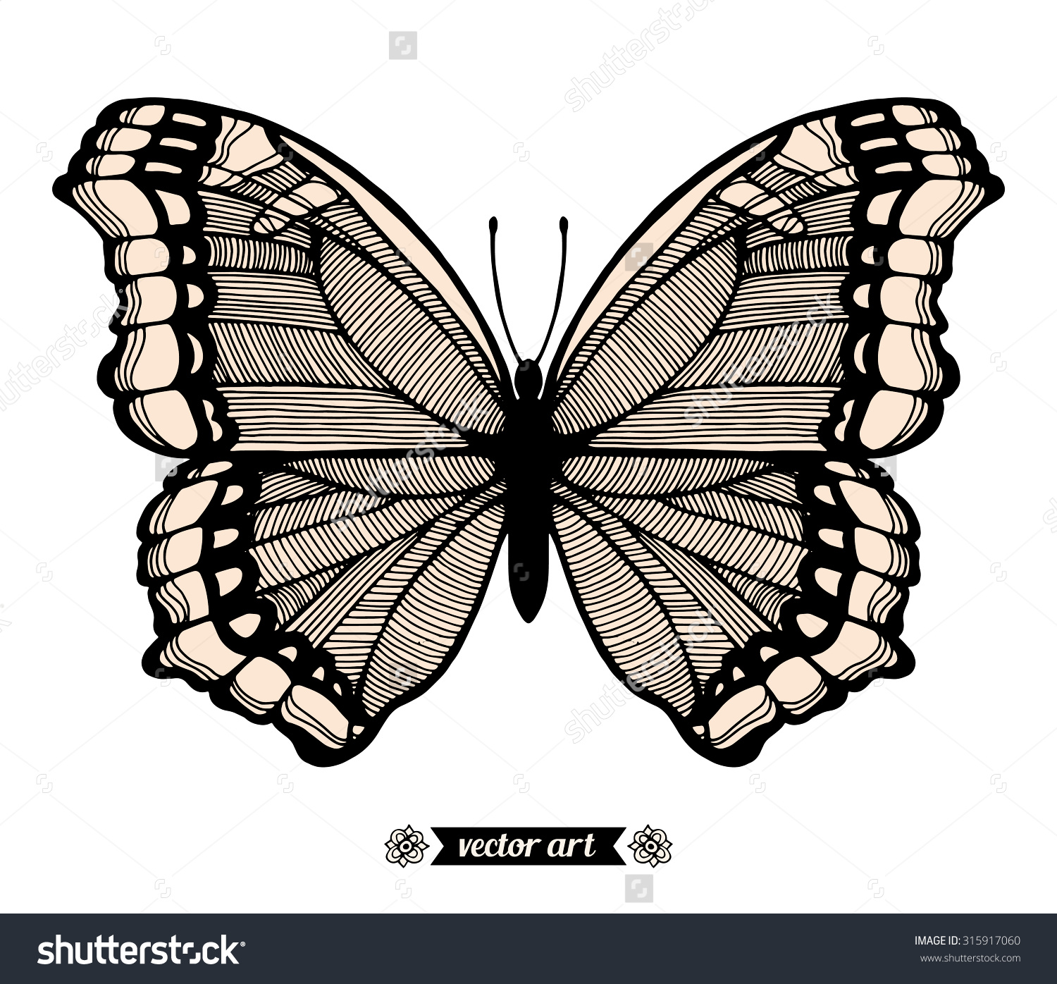 "Amazing Fly Butterfly ""Nymphalis Antiopa"", Wildlife Insect. Vector."