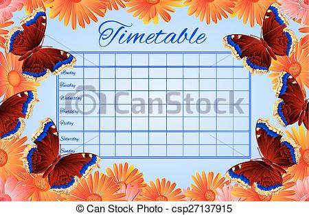 Vector Clip Art of Timetable butterfly Nymphalis antiopa vector.