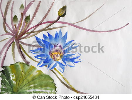 Stock Photos of Nymphea flower watercolor painting.