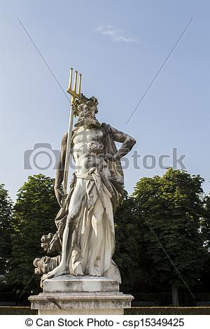 Stock Photo of Statue of Neptune at Nymphenburg Palace, Munich.