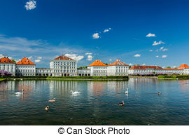 Stock Photography of Artificial pool in front of the Nymphenburg.