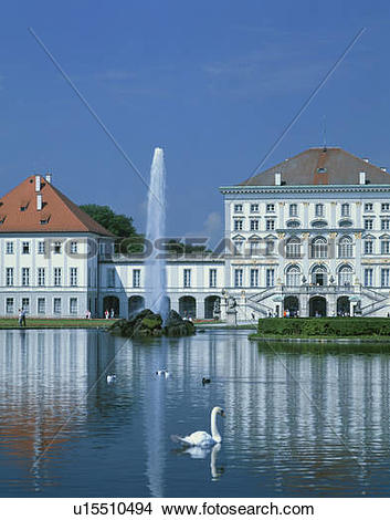 Stock Photo of Nymphenburg Palace fountain, Munich, Germany.