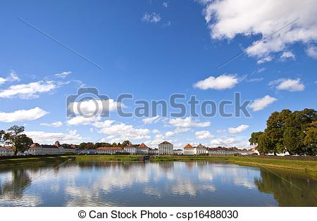 Stock Photos of Wide angle view of Nymphenburg Castle, Munich.