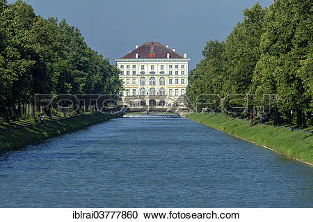 """Stock Photography of """"East side with canal, Nymphenburg Palace."""