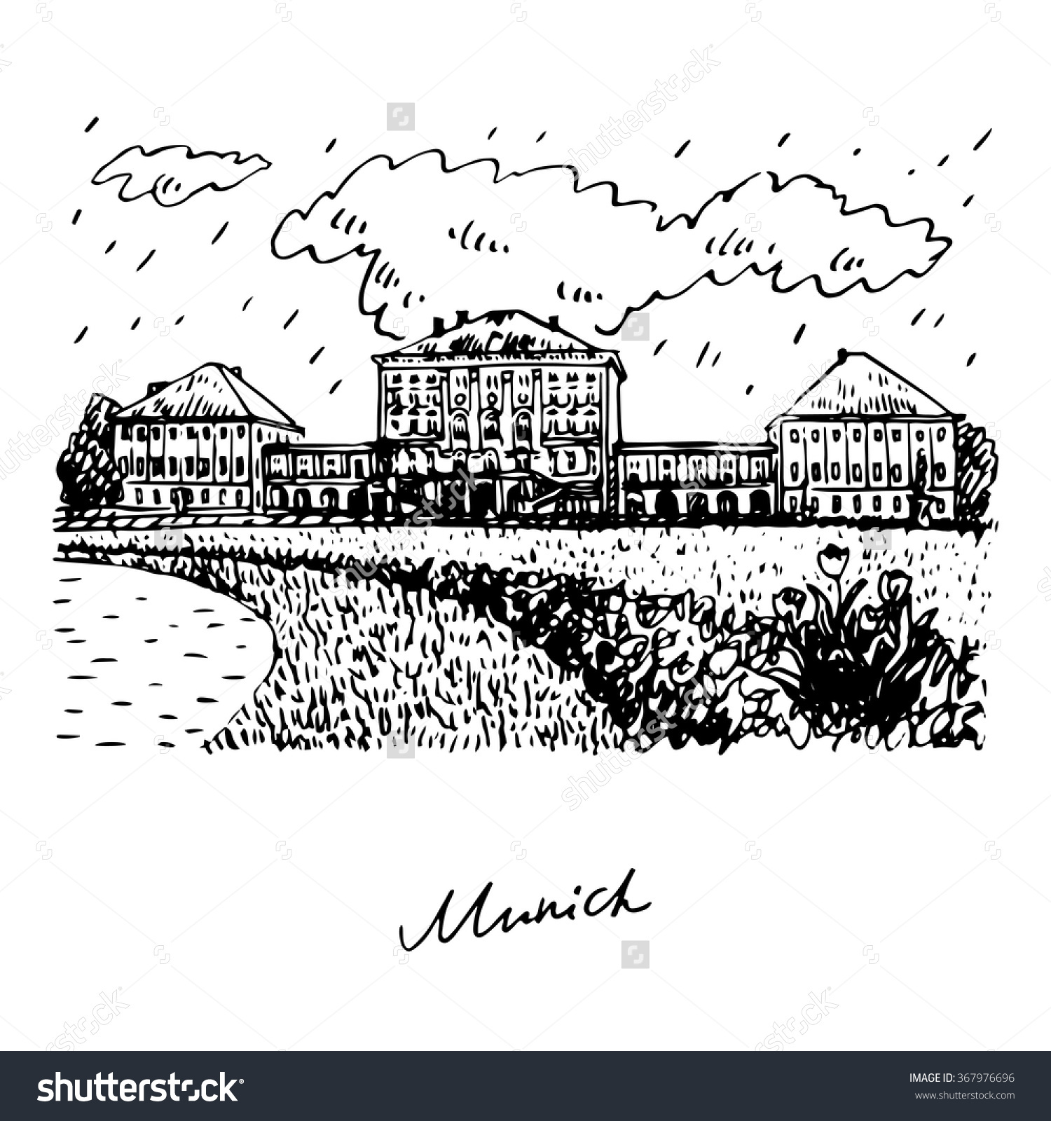 Nymphenburg Palace Munich Bavaria Germany Vector Stock Vector.