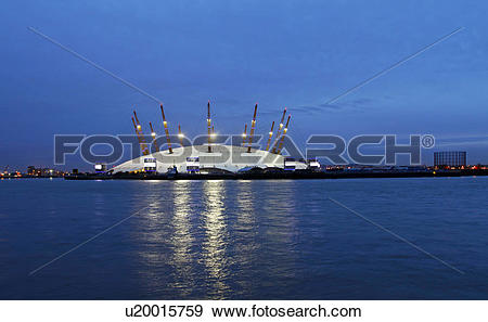 Stock Photograph of England, London, Greenwich. The O2, a large.