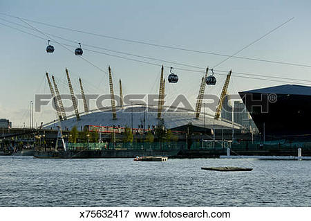 Picture of Emirates cable cars hang over O2 Arena Greenwich.