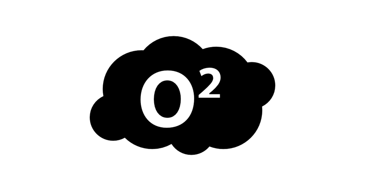 O2 symbol in a cloud.